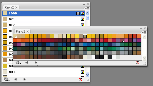 Image of the swatch for matching RAL colours in Illustrator