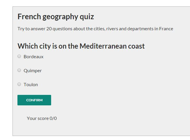 jQuery Quiz multiple choice plugin